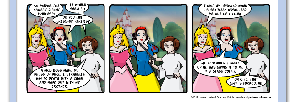 The New Girl, Disney princesses, Leia, Aurora, Snow White, Sleeping Beauty, George lucas